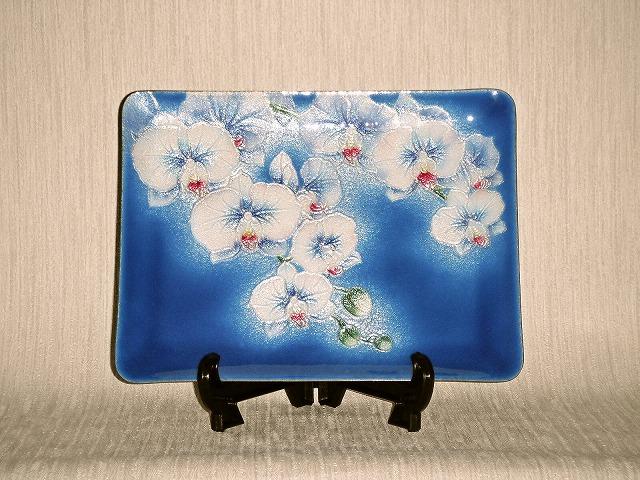 七宝焼 飾皿 7×9 胡蝶蘭