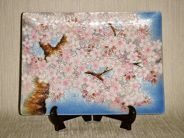 七宝焼 飾皿 6×8 しだれ桜