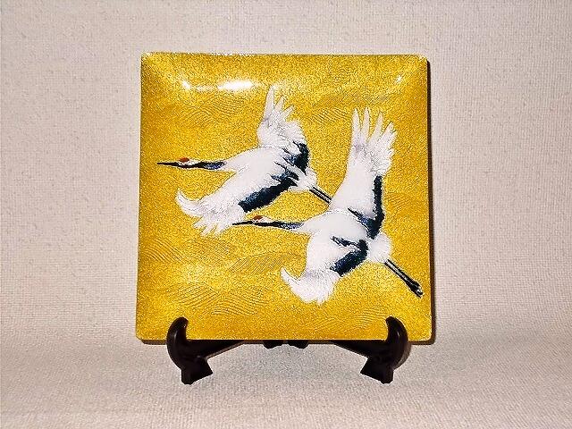 七宝焼 飾皿 6×6 双鶴