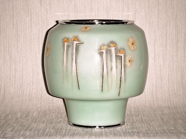 七宝焼 花瓶 6号 青磁孔雀