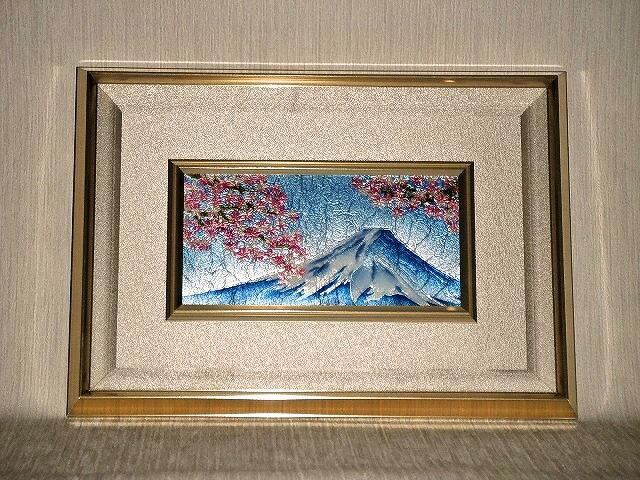 七宝焼 額 4×8 富士桜