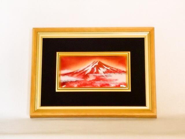 七宝焼 額 4×8 赤富士