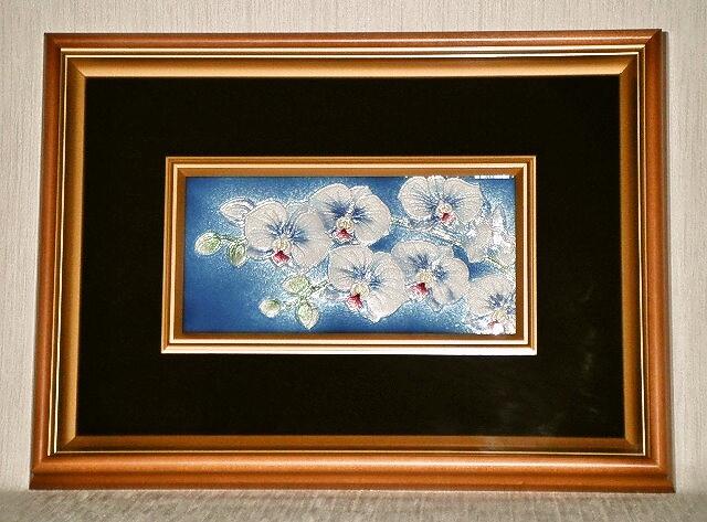 七宝焼 額 4×8 胡蝶蘭