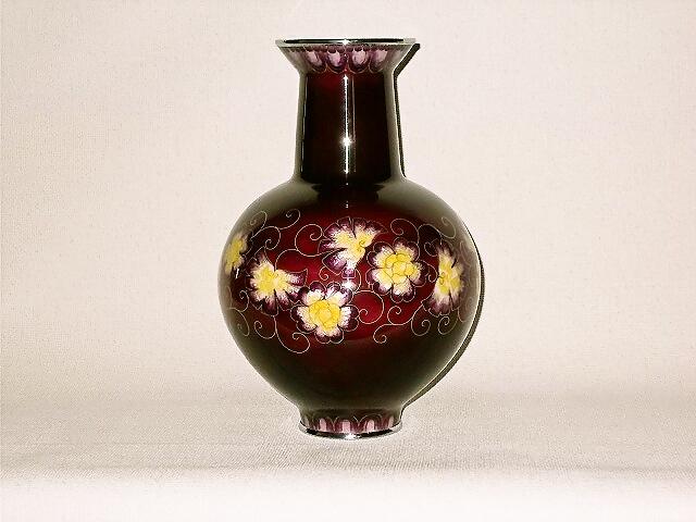七宝焼 花瓶 9号変形玉型 紫地花紋