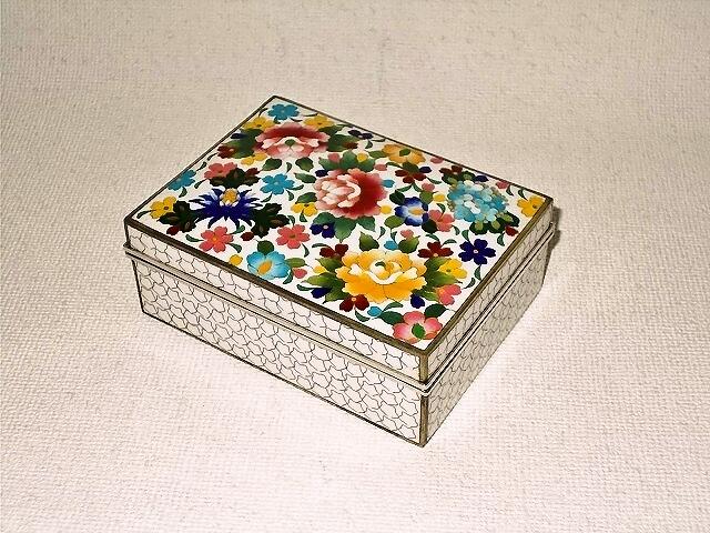 七宝焼 宝石箱 白花詰小