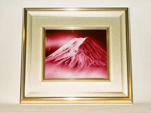 七宝焼 額 3号赤富士