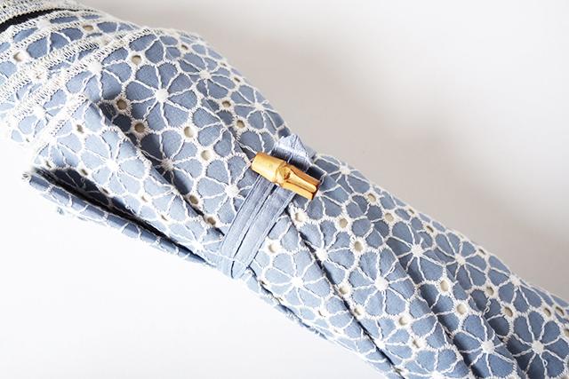 日傘 完全遮光 100% UVカット クラシコ 完全遮光100% 傘 レディース 紫外線カット 日本製生地 花 フラワー サークルレース(綿100%) バンブー 水色 母の日 プレゼント lace