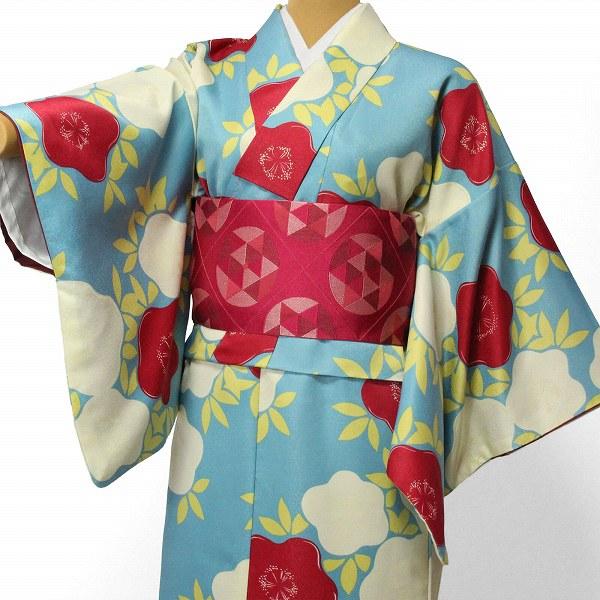 【レンタル】〔着物 レンタル〕「Sサイズ」hiromichi nakano 緑・紅白 ツバキ(春秋冬用/女性用レディース袷) おしゃれ モダン (1291) お正月・初詣・成人式