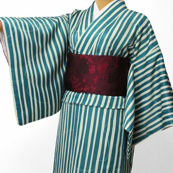 【レンタル】〔着物 レンタル〕「XLサイズ」hiromichi nakano 緑・縦縞(春秋冬用/女性用レディース袷) おしゃれ モダン (1296) お正月・初詣・成人式