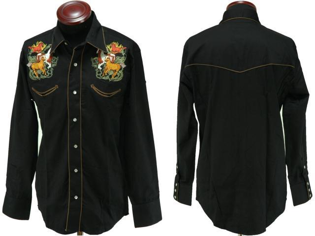 馬の刺繍入りメンズ・レトロ・ウエスタンシャツ(ブラック)
