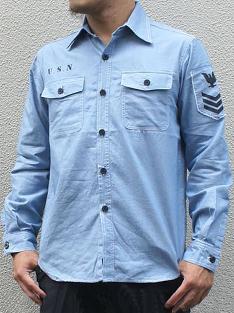 미국 군 NAVY シャンブレーシャツ 긴 소매 블루 (스텐실 헝겊) 밀리터리 남성 남자