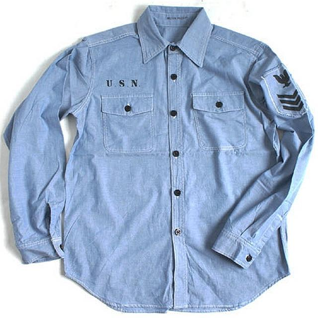 1905de0a87e9 Hobby-mart: American army NAVY chambray shirt long-sleeved blue ...