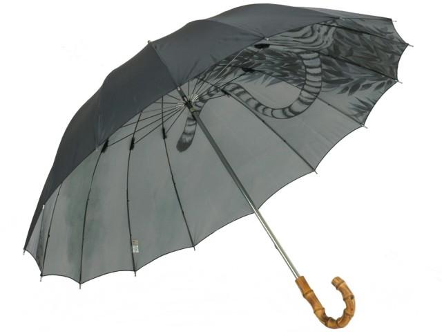 """弩迫力の""""虎(Tiger)""""裏柄一枚張り雨傘 カーボン16本骨 紳士長"""