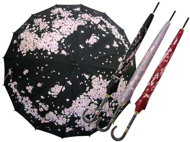 チェリーブロッサム 婦人用16本骨雨傘(手開き) カーボン骨使用