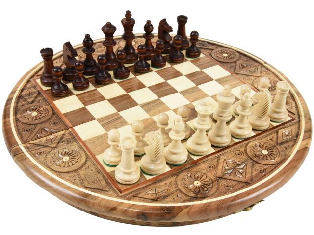 芸術的な彫刻入り象嵌円形ボードの手作り木製チェスセット:Artemis(アルテミス)直径35cm 盤 駒 ポーランド製 数量限定販売