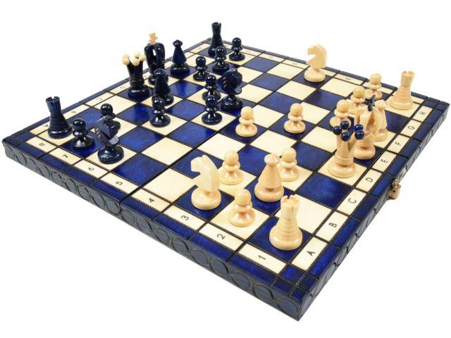 ポーランド製 木製カラーチェスセットchess set:Charis(カリス)ブルー 35cm×35cm 木製 駒 盤 数量限定販売【楽ギフ_包装】