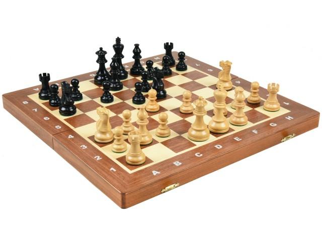 高級 木製 チェスセット:アメリカン クラシック ナイト エボナイズド(黒檀仕上げ) 40cm×40cm ポーランド製 American Classic Knight Ebonized Chess Set 駒盤 数量限定販売