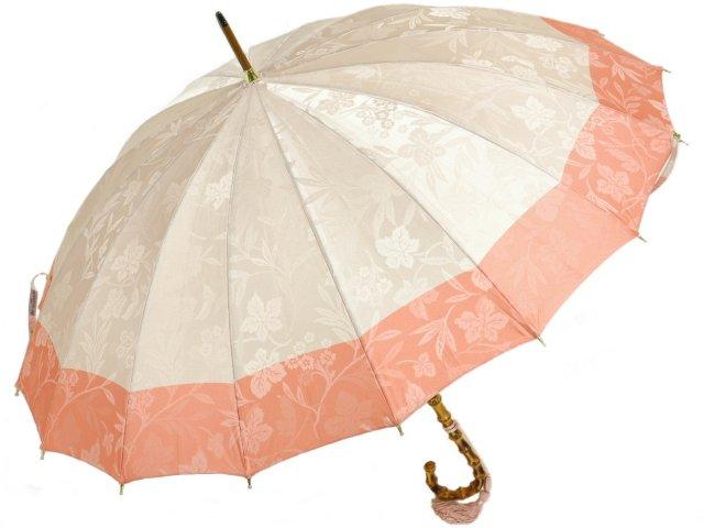 レディース16本骨長傘 前原光榮商店 花の総柄ボーダージャガード婦人用雨傘(ローズ) 前原傘 かさ 皇室御用達前原光栄商店製