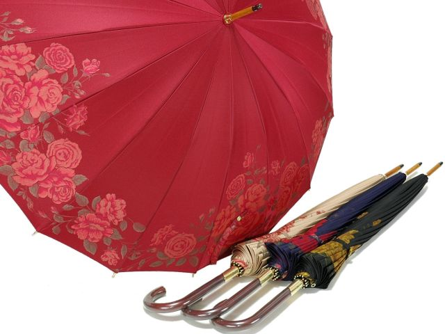 前原光榮商店 絵羽調バラ柄ジャガードの婦人用16本骨雨傘 フェアリーローズ(Fairy Rose) 前原傘 かさ 皇室御用達前原光栄商店製