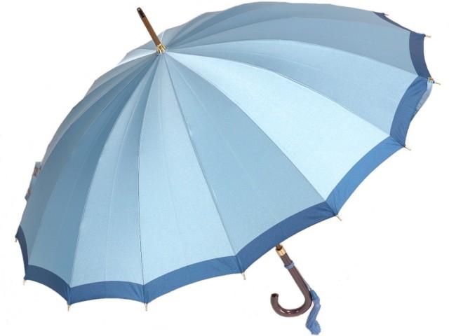 前原光榮商店 ボーダー柄の婦人用16本骨雨傘(ライトブルー) 前原傘 かさ 皇室御用達前原光栄商店製 女