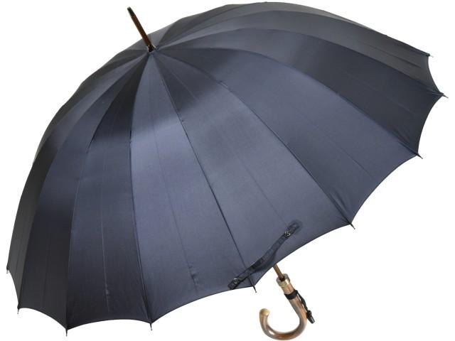 カーボン骨の大判無地16本骨雨傘トラッド16ロングカーボン(ダークブルー) 前原傘 かさ 前原光栄商店の日本製メンズ長傘 男