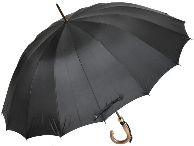 カーボン骨の大判無地16本骨雨傘トラッド16ロングカーボン(ブラック) 前原傘 かさ 前原光栄商店の日本製メンズ長傘 男