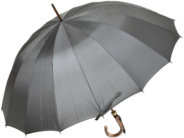 カーボン骨の大判無地16本骨雨傘トラッド16ロングカーボン(グレー) 前原傘 かさ 前原光栄商店の日本製メンズ長傘 男