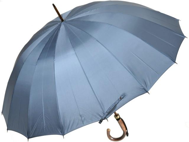 カーボン骨の大判無地16本骨雨傘トラッド16ロングカーボン(ブルーグレー) 前原傘 かさ 前原光栄商店の日本製メンズ長傘 男