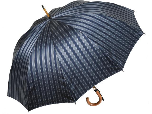 おしゃれなボーダー柄10本骨傘 ディライン(ネイビー) 前原傘 かさ 前原光栄商店の日本製メンズ雨傘 男 匠