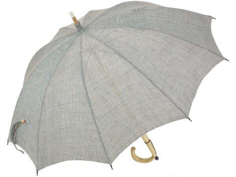 【受注組立】皇室御用達前原光榮商店 ており麻のパラソル(グリーングレー) 長日傘 UVカット