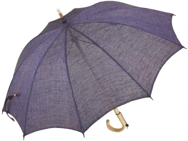 【受注組立】皇室御用達前原光榮商店 ており麻のパラソル(パープル) 長日傘 UVカット