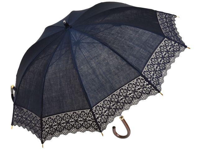 皇室御用達前原光榮商店のお洒落で涼しい麻のレース日傘(ネイビー) トーションレースショートパラソル UVカット加工