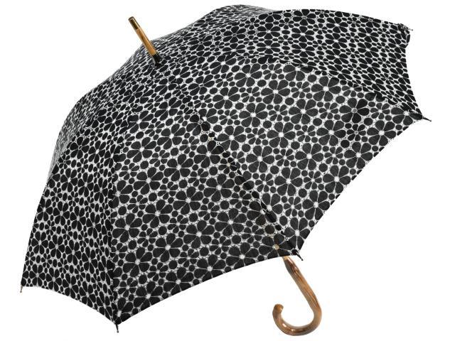 コスモス風花びら6枚の小花柄刺繍レースパラソル(ブラック) 長日傘 かさ工房ワカオ 日本製 Tokyo Made WAKAO レディース 女 UVカット