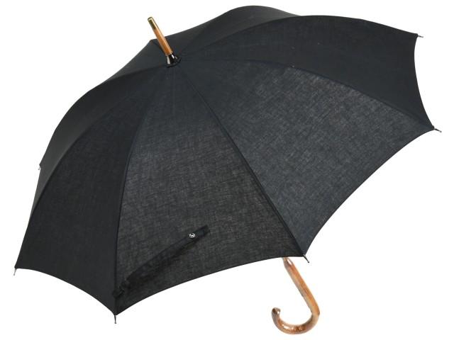 綿麻混 無地 晴雨兼用 ショートパラソル(ブラック) 日傘 雨傘 長傘 かさ工房ワカオ 日本製 Tokyo Made WAKAO レディース 女 UVカット