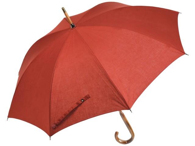 綿麻混 無地 晴雨兼用 ショートパラソル(テラコッタ) 日傘 雨傘 長傘 かさ工房ワカオ 日本製 Tokyo Made WAKAO レディース 女 UVカット