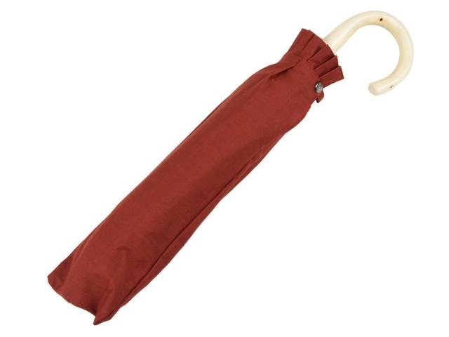 綿麻混 無地 エゴの木小曲手元の晴雨兼用折りたたみ傘(テラコッタ) 日傘 雨傘 かさ工房ワカオ 日本製 Tokyo Made WAKAO レディース 女 UVカット