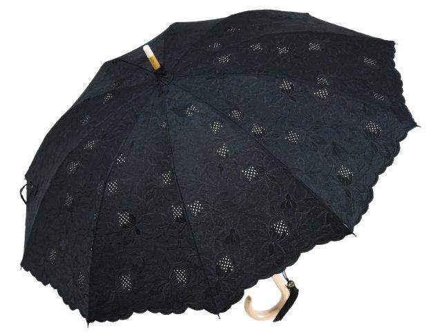 日傘 長傘 皇室御用達前原光榮商店のエレガントな総刺繍パラソル 4inchエンブロイダリー(ブラック) 綿100% 長日傘 ショート 日本製 UVカット加工 レディース 女