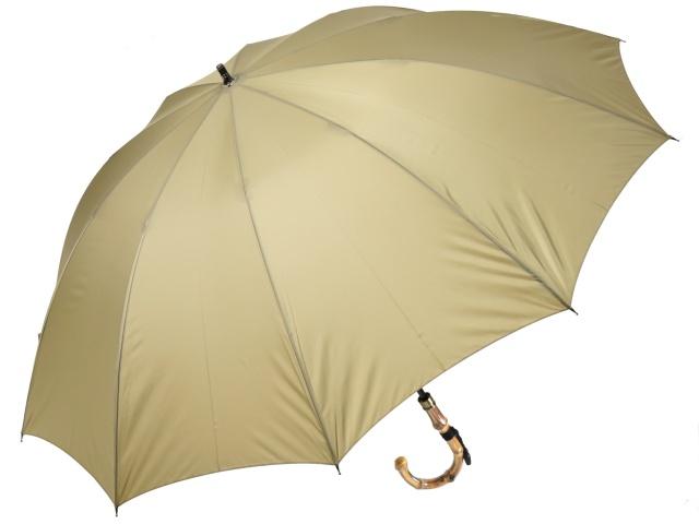 大判親骨70cm 軽量 カーボン骨メンズ長傘(ベージュ) 寒竹手元 10本骨雨傘 高密度 超撥水 かさ工房ワカオ 日本製傘 Tokyo Made WAKAO 紳士 男