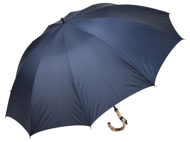 大判親骨70cm 軽量 カーボン骨メンズ長傘(ネイビー) 寒竹手元 10本骨雨傘 高密度 超撥水 かさ工房ワカオ 日本製傘 Tokyo Made WAKAO 紳士 男