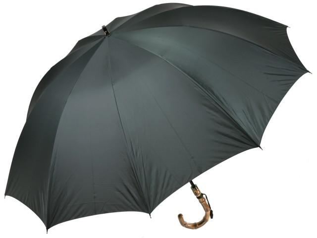 大判親骨70cm 軽量 カーボン骨メンズ長傘(グリーン) 寒竹手元 10本骨雨傘 高密度 超撥水 かさ工房ワカオ 日本製傘 Tokyo Made WAKAO 紳士 男