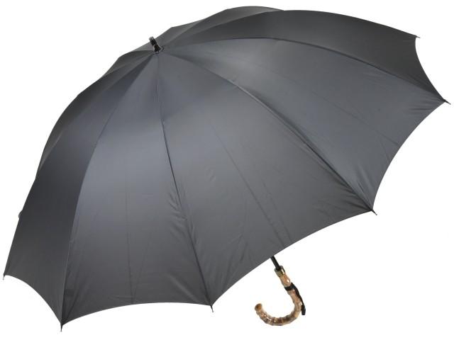 大判親骨70cm 軽量 カーボン骨メンズ長傘(グレー) 寒竹手元 10本骨雨傘 高密度 超撥水 かさ工房ワカオ 日本製傘 Tokyo Made WAKAO 紳士 男