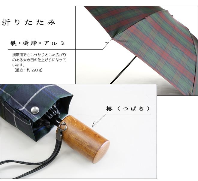 マキタ トラッド ミニ(ダグラスグリーン) 折傘 タータンチェック メンズ 三段式 折りたたみ傘 ミニ傘 Makita Trad Mini (Douglas Green) 槙田商店の日本製紳士用雨傘 男 かさ
