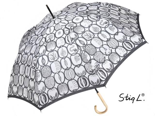 スティグ・リンドベリ&槙田商店コラボ ジャガード長傘 FRUKTLADA/フルクトラーダ(グレー) フルーツボックス 北欧デザイン 日本製雨傘 晴雨兼用傘 UV加工 レディース 女