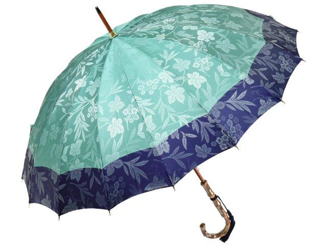 前原光榮商店 花の総柄ボーダージャガード婦人用16本骨雨傘(ミントグリーン) 前原傘 かさ 皇室御用達前原光栄商店製