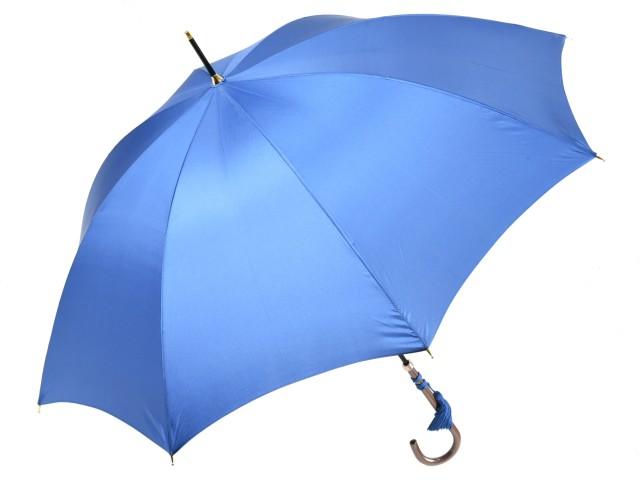 かさ工房ワカオ おしゃれなレディース長傘 細巻ラタン調ハンドル 8本骨 日本製雨傘 (ロイヤルブルー) 親骨55cm Tokyo Made WAKAO 婦人 女 送料無料