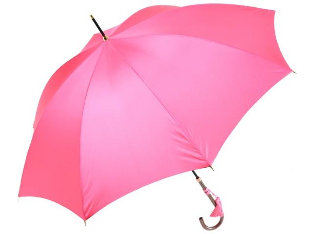 おしゃれな細巻スタイルのラタン調ハンドル 8本骨 レディース長傘(ピンク) 親骨55cm 雨傘 かさ工房ワカオ 日本製傘 Tokyo Made WAKAO 婦人 女