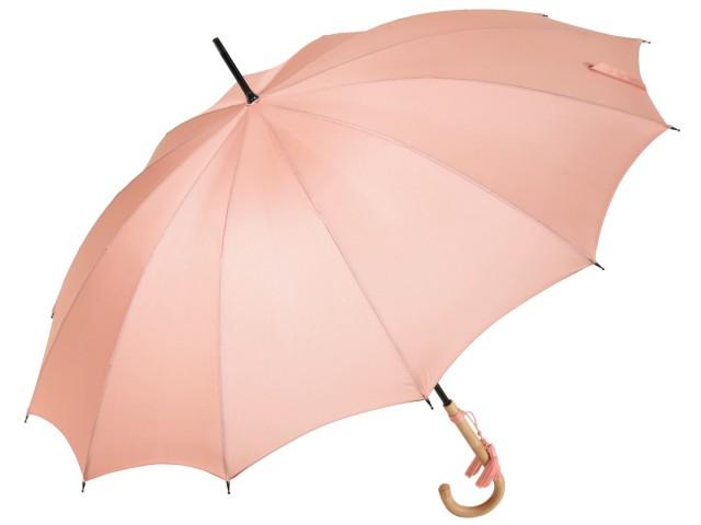 おしゃれな浅張りフォルムのラタン(籐)ハンドル 12本骨 レディース長傘 ローズ(サーモンピンク) 親骨55cm 雨傘 かさ工房ワカオ 日本製傘 Tokyo Made WAKAO 婦人 女