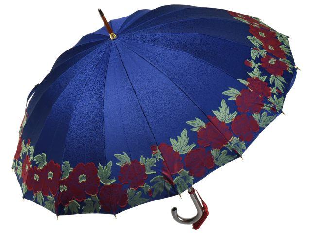 前原光榮商店 牡丹柄カットジャガード婦人用16本骨雨傘 カットぼたん-Carbon(ネイビー) 前原傘 かさ 皇室御用達前原光栄商店製