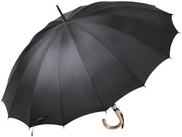 前原光榮商店 おしゃれで丈夫な無地16本骨雨傘 TRAD-16(ブラック) 前原傘 かさ 皇室御用達前原光栄商店製 紳士用 男