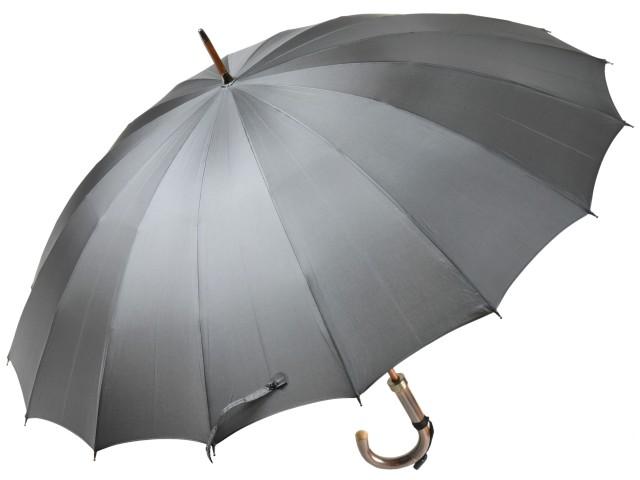 前原光榮商店 おしゃれで丈夫な無地16本骨雨傘 TRAD-16(グレー) 前原傘 かさ 皇室御用達前原光栄商店製 紳士用 男